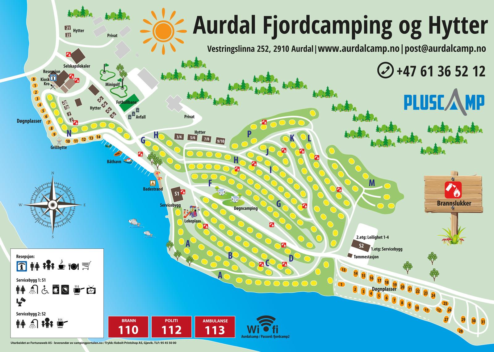 Plattegrond van de camping - Pluscamp Aurdal Fjordcamping en hutten