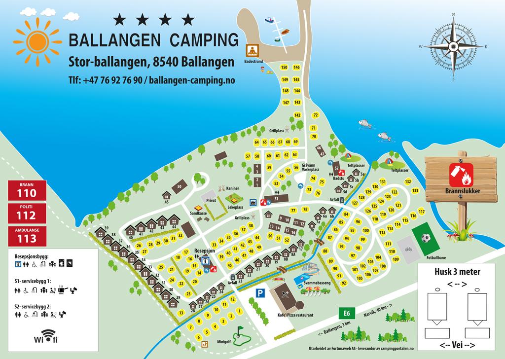 Plattegrond van de camping - camping Ballangen