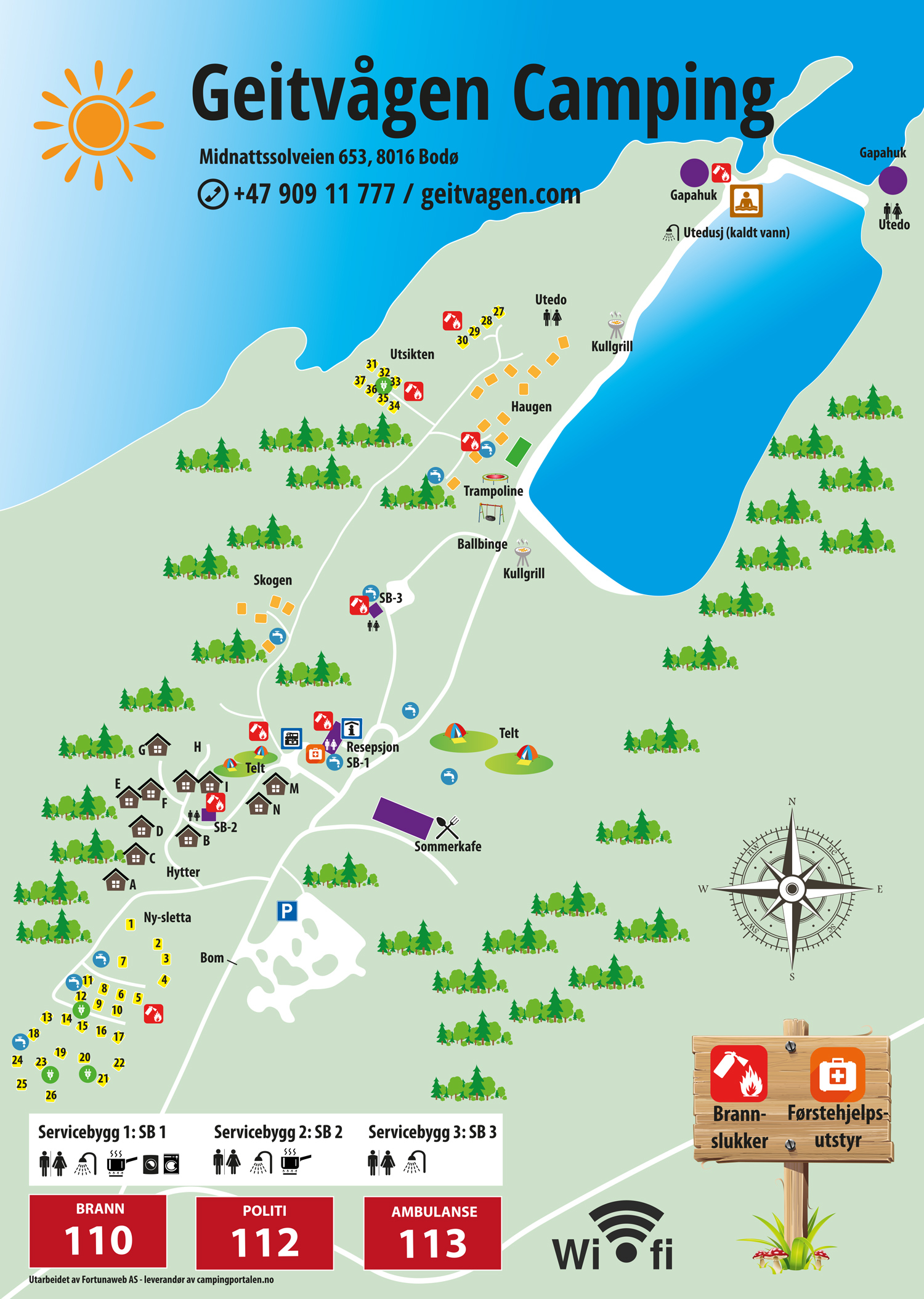 Camping map - Pluscamp Geitvågen swimming & camping