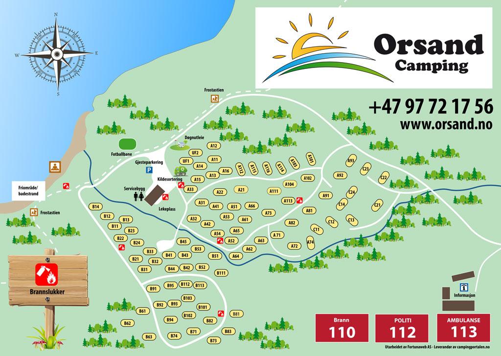 Plattegrond van de camping - camping Orsand