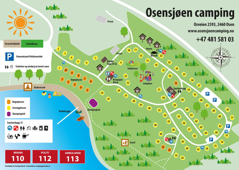 Camping map - Osensjøen Camping