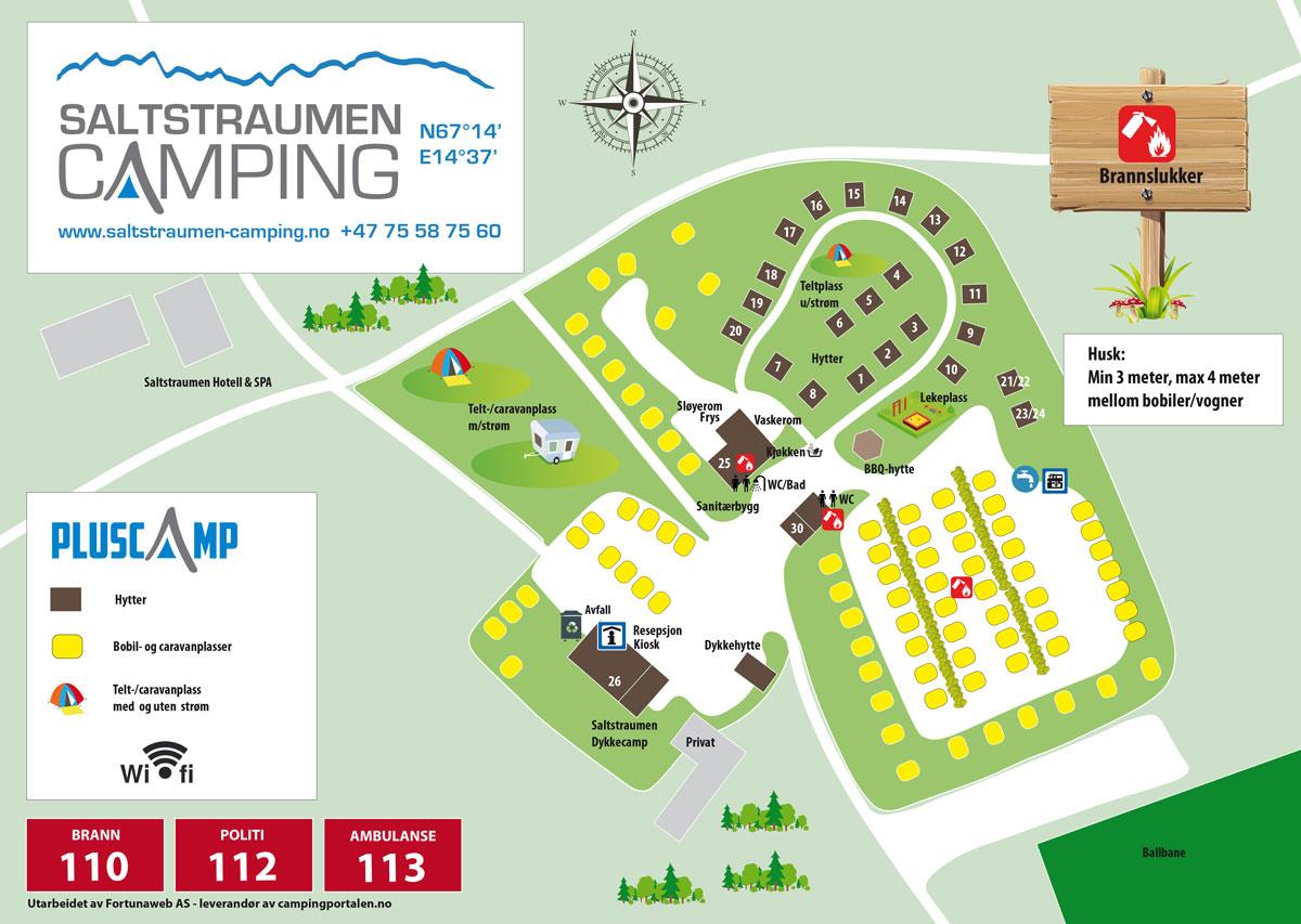 Plattegrond van de camping - Pluscamp Saltstraumen Camping
