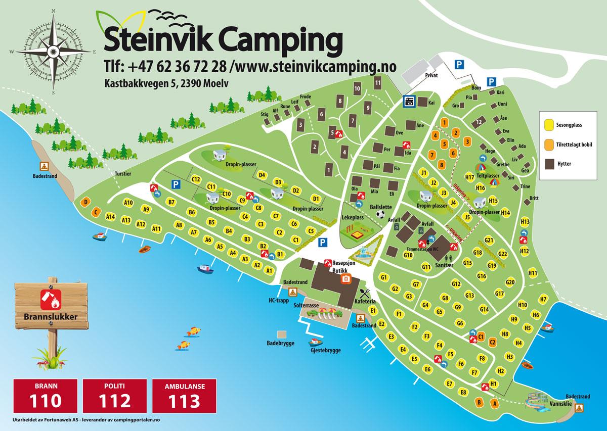 Plattegrond van de camping - Steinvik Camping
