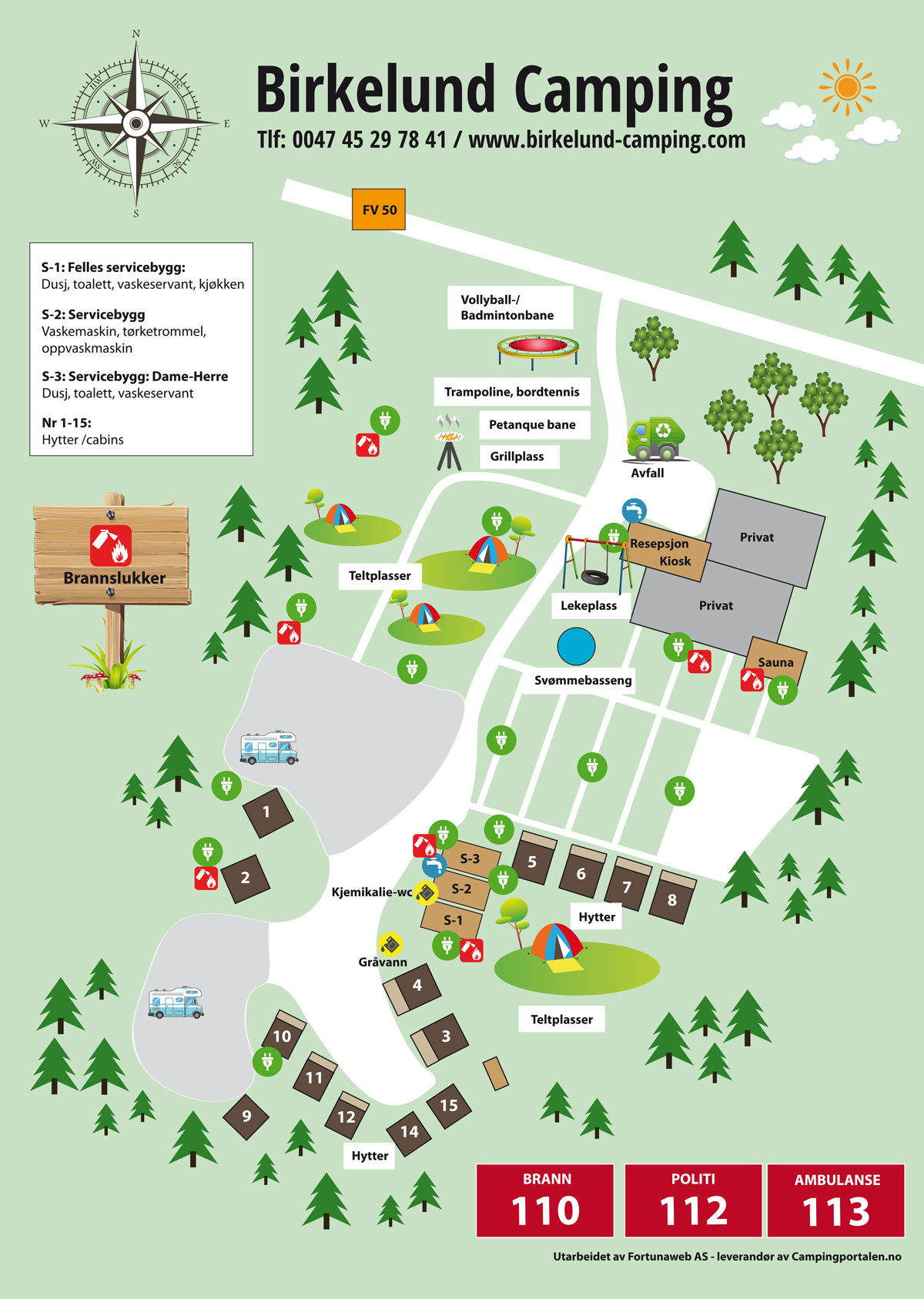 Camping map - Birkelund Camping