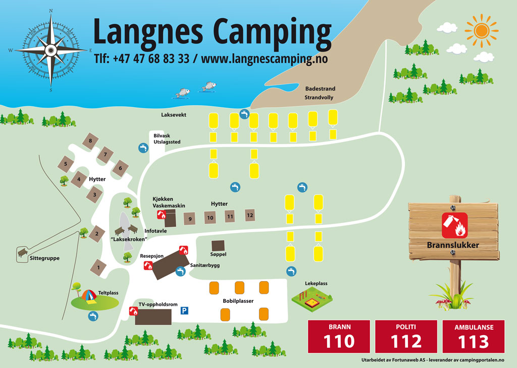 Plattegrond van de camping - Langnes Camping