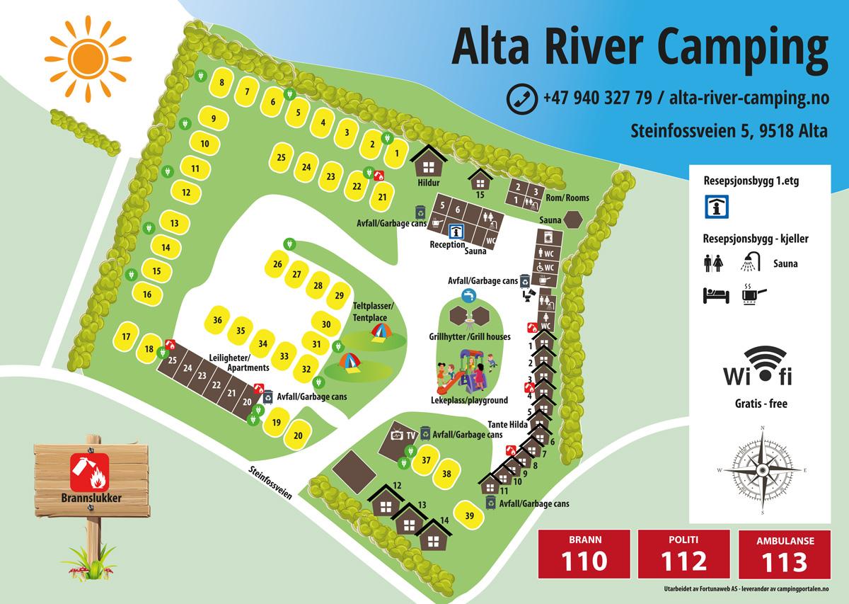 Campingkaart - Alta River Camping and Apartment