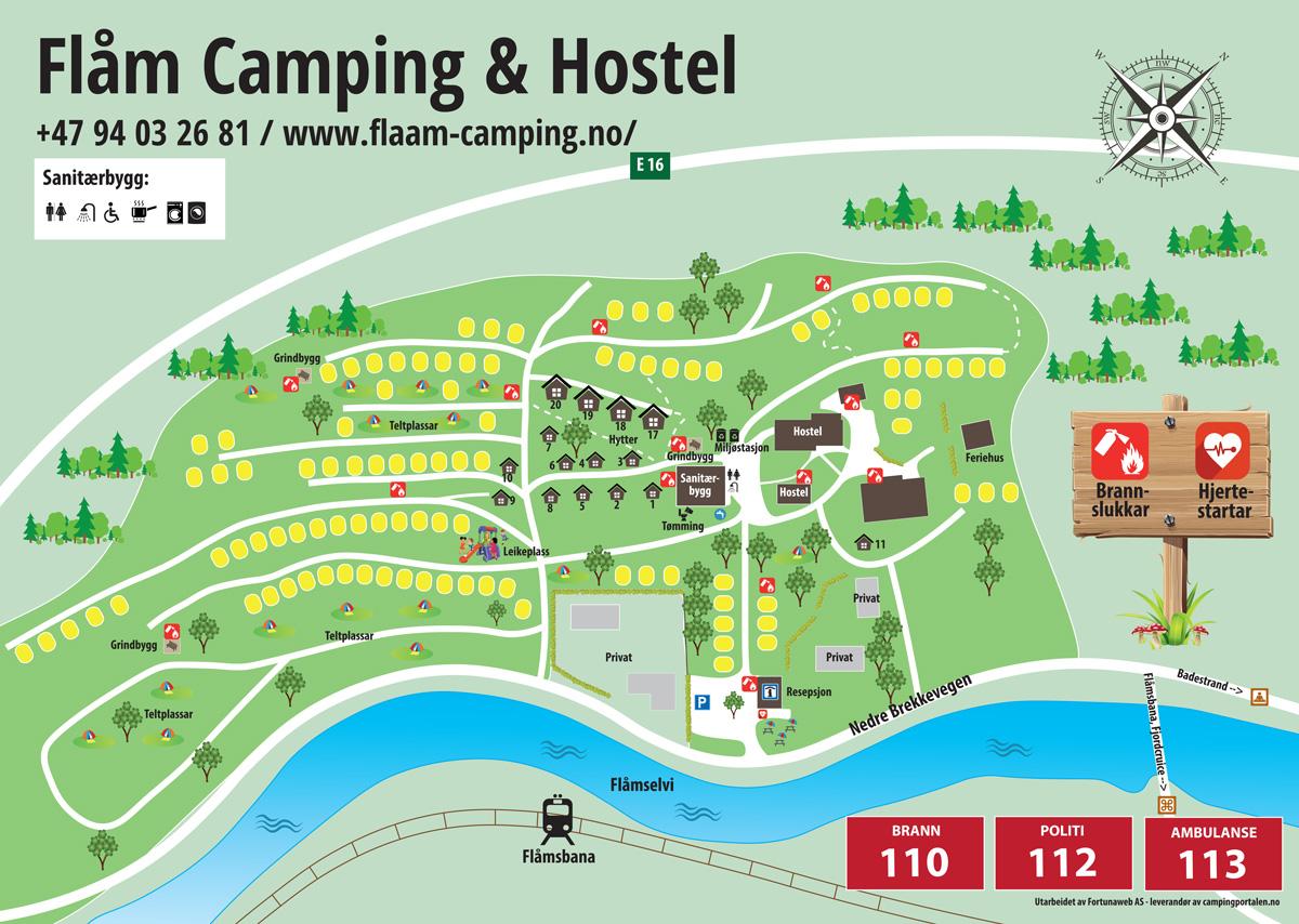 Camping map - Flåm Camping and Vandrarheim