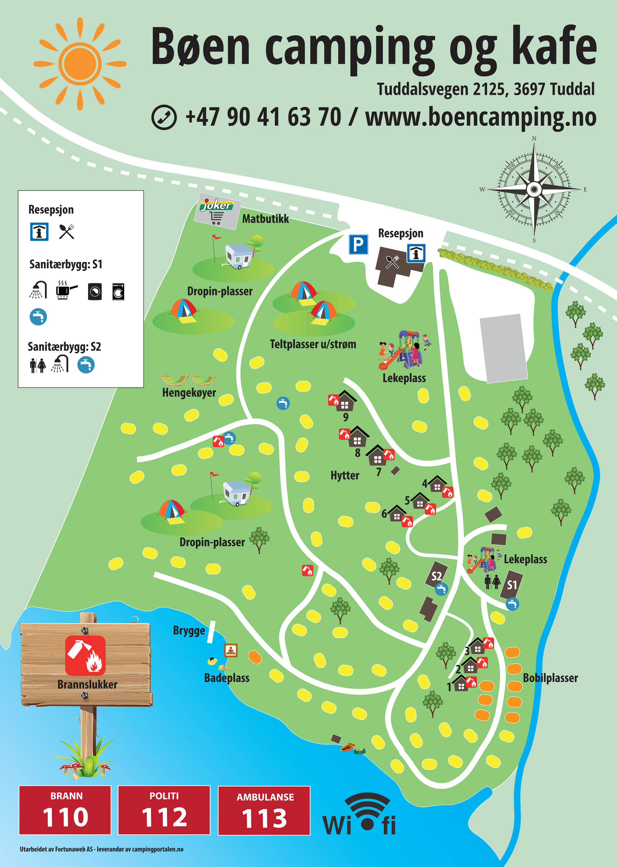 Campingkarte © Bøen Camping & Café