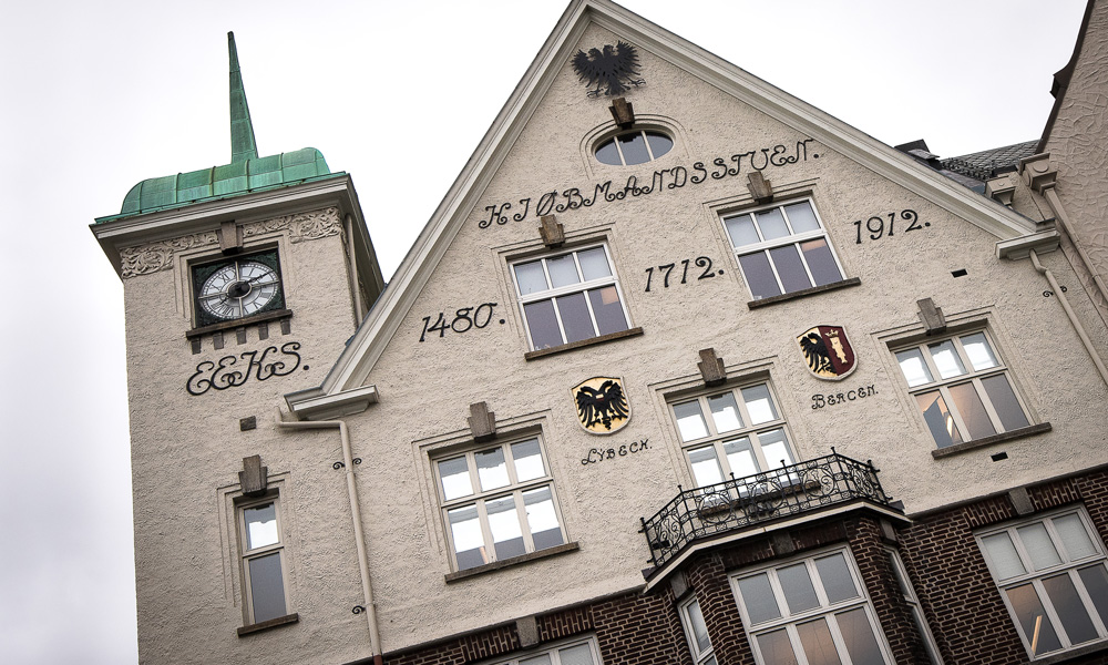 The facades along Bryggen tell of a city with long trading traditions.