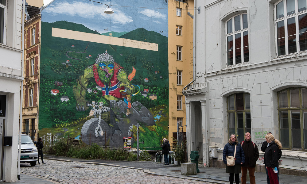 The mural leaves no doubt, you are in the country where the trolls live.