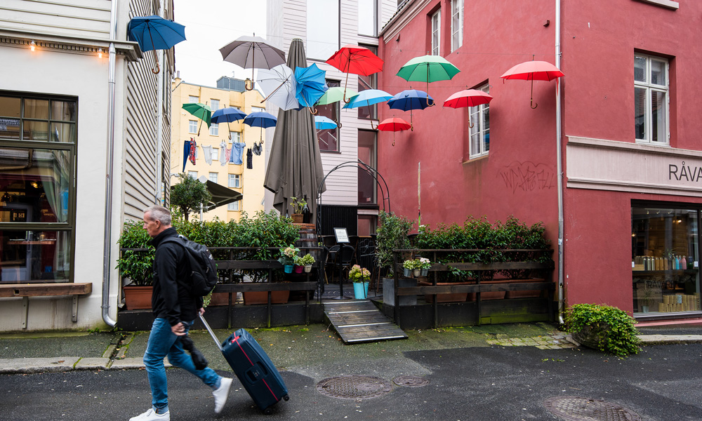 You know you have come to Bergen when you see a sea of umbrellas.