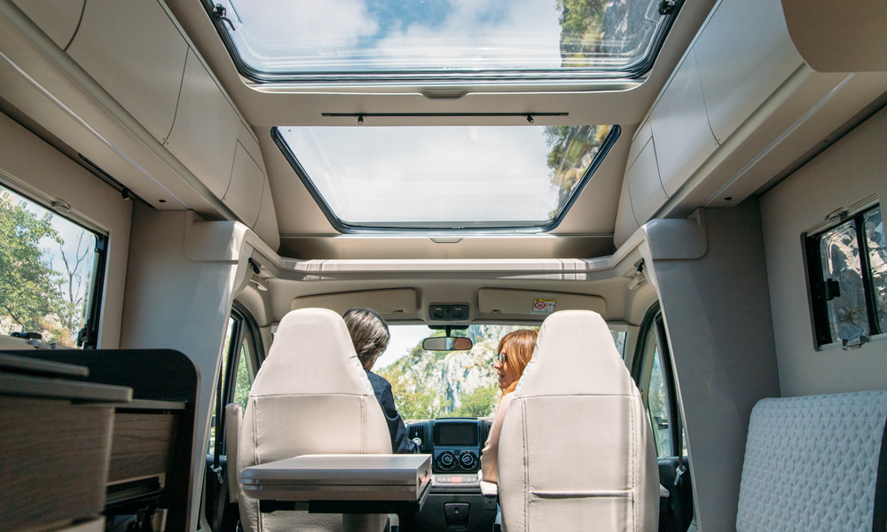 With a panoramic skylight, the Adria Coral draws nature and light into the motorhome.