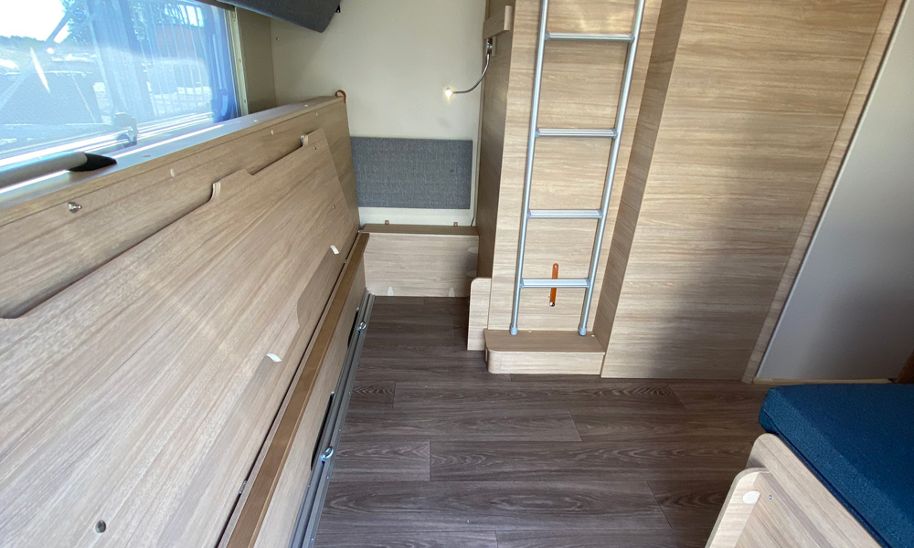 """Alternatively, the bunks in the """"children's room"""" can be folded and make room for a luggage compartment, but then it may be a good idea to upgrade the total weight to 2500 kg. which is included as an option"""