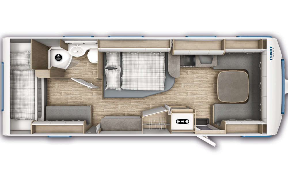 """The floor plan shows a carriage with a """"Scandinavian"""" layout with a seating area in the front and a toilet room at the rear."""