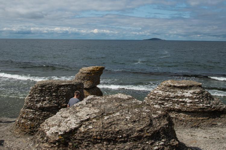 Öland besteht zum größten Teil aus Kalkstein, und im Norden der Insel finden wir diese Formationen, die als Rauker bezeichnet werden. Im Hintergrund ist das Naturschutzgebiet Blue Virgin zu sehen.