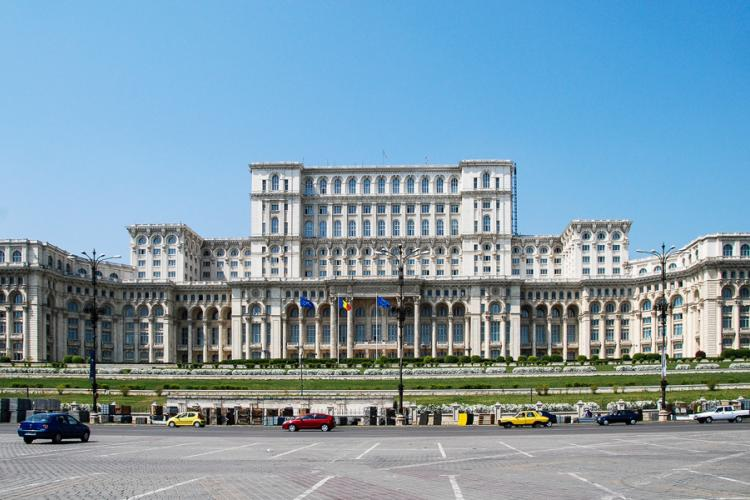 The world's second largest building, reportedly visible from the moon - the palace that Nicolae Ceauseşcu and his wife Elena ran through while the people lacked most of it. Where the Romanian Parliament is located here.